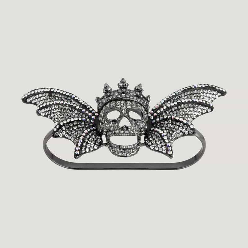 Crystal Skull On Wings Palm Bracelet