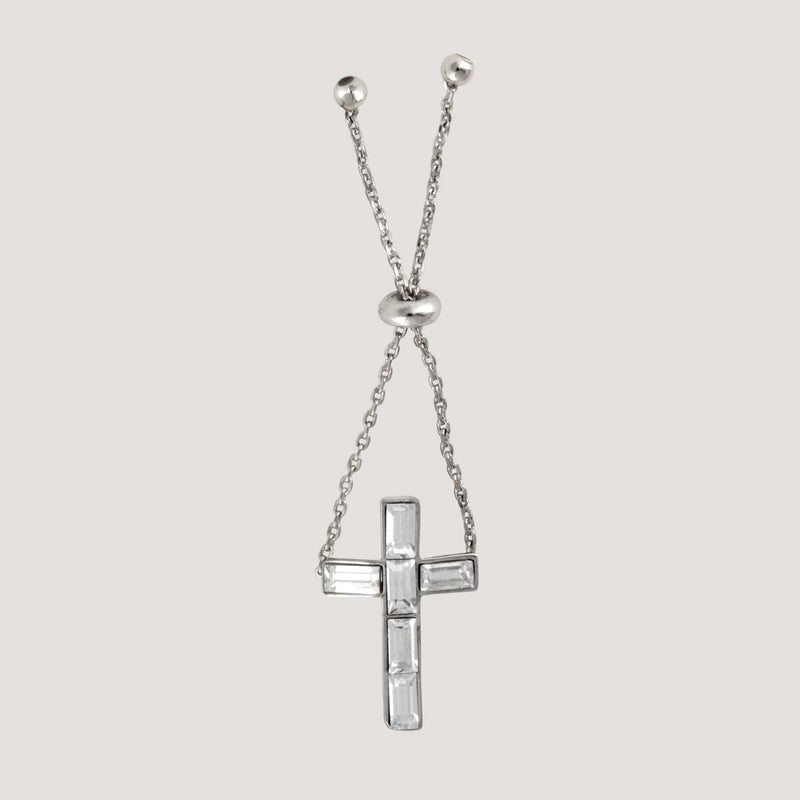 Crystal Cross Adjustable Chain Ring