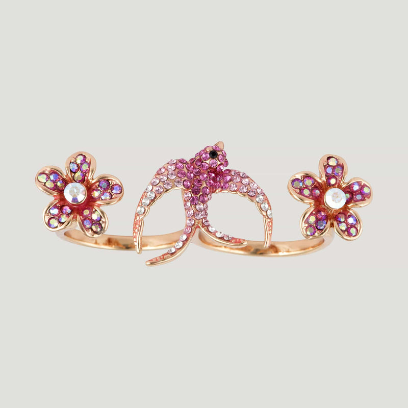 Swallow with Flowers Adjustable Double Finger Ring