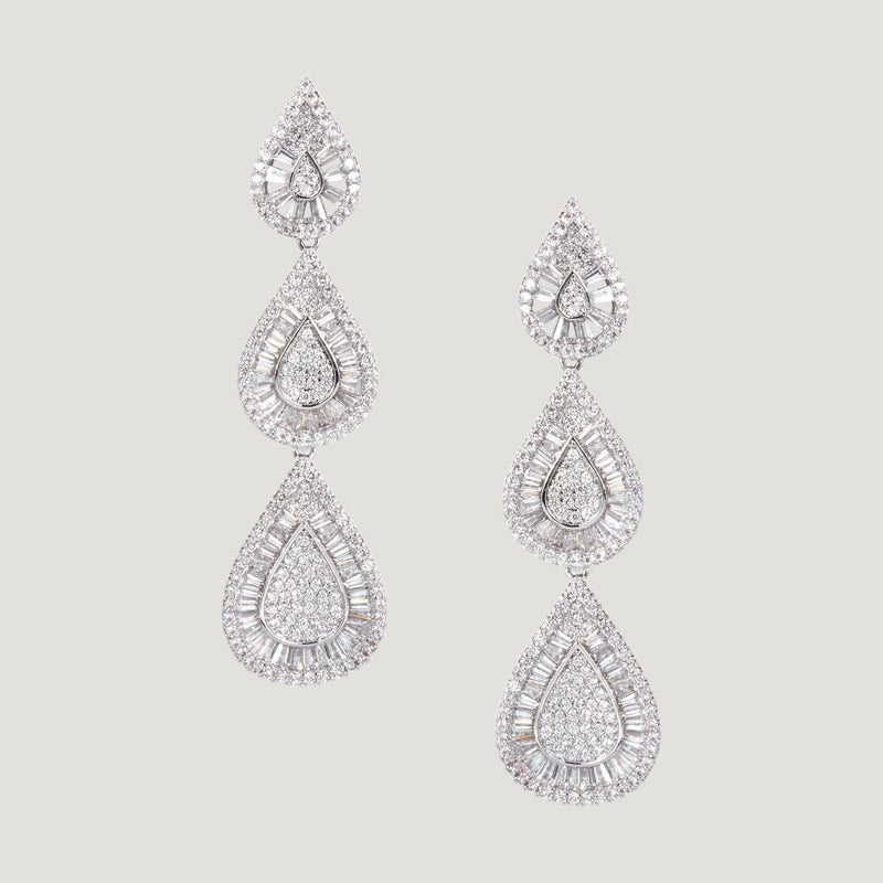 Three Crystal Teardrop Earrings