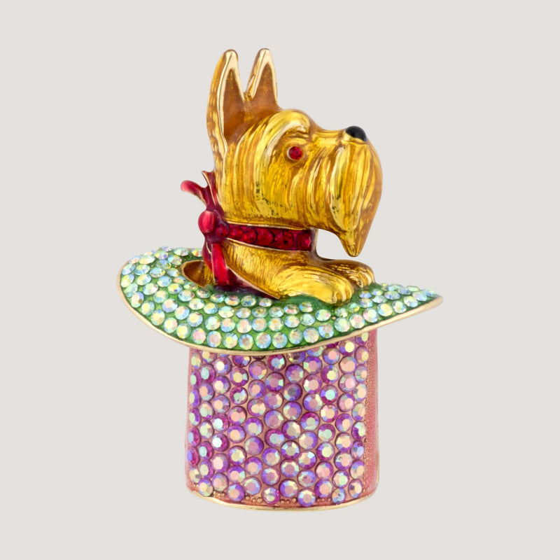 Dog in Magic Hat Brooch