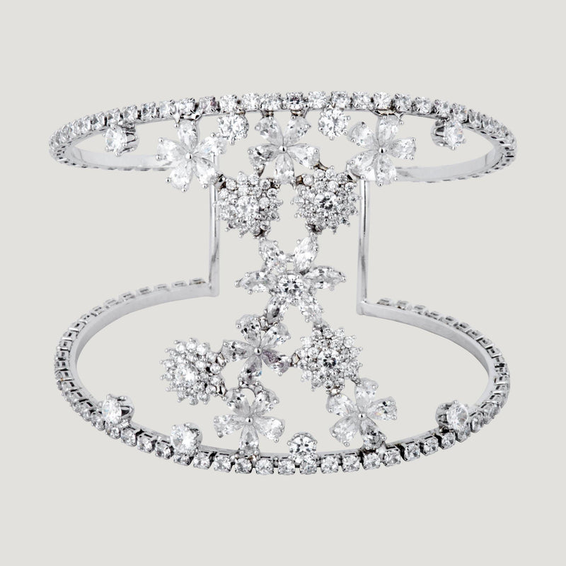 Crystal Flowers Double Crystal Row Bracelet
