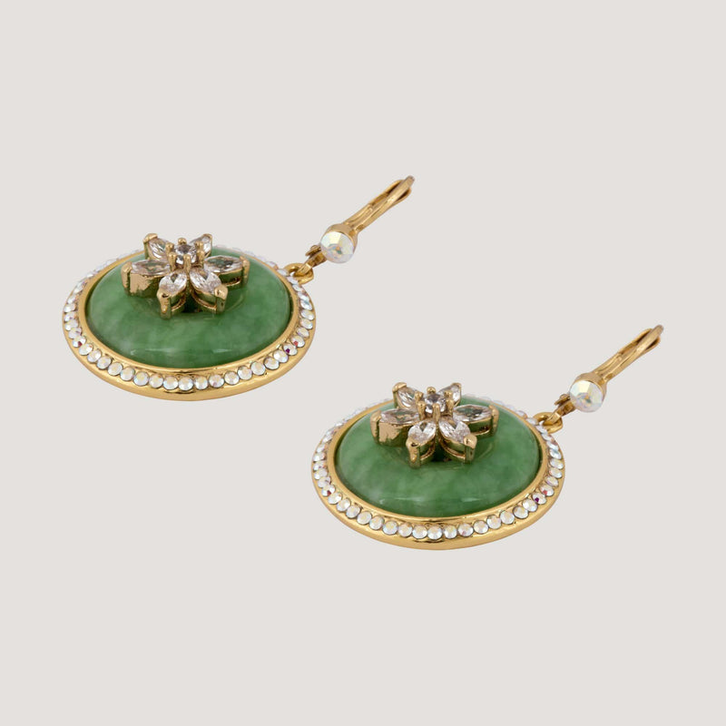 Circle Jade & Flower Drop Earrings