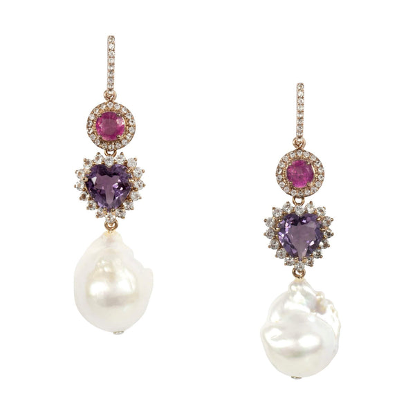 Ruby Heart Shape Amethyst and Fresh Water Pearl Drop Earrings
