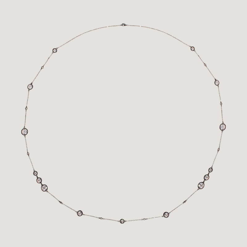 Circle Crystals Long Chain Necklace