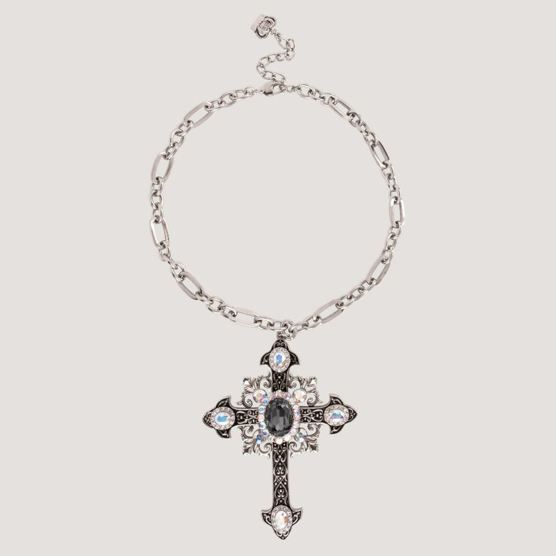 Crystal Victorian Style Cross Necklace