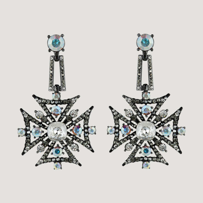 Crystal Medal Drop Earrings
