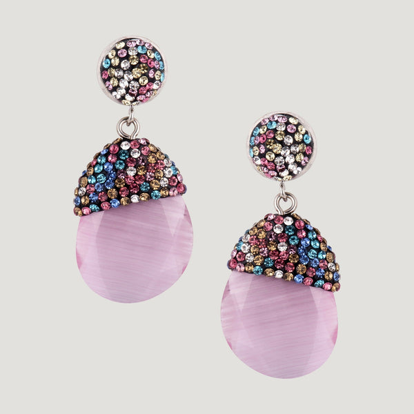 Crystal Top Glass Drop Earrings