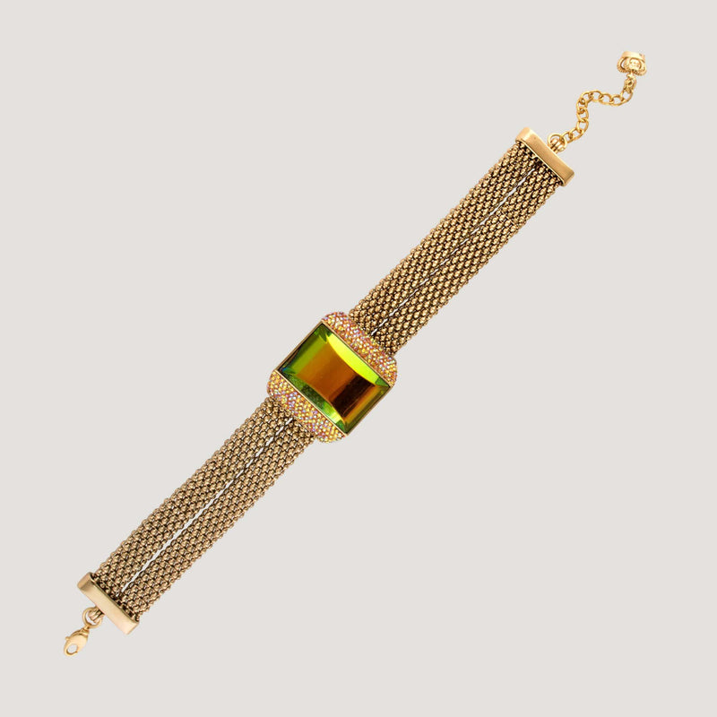 Gem Stone on Double Mesh Chain Choker
