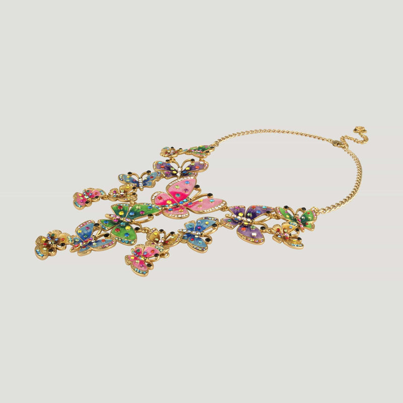 Crystal & Enamel Butterflies Cluster Necklace