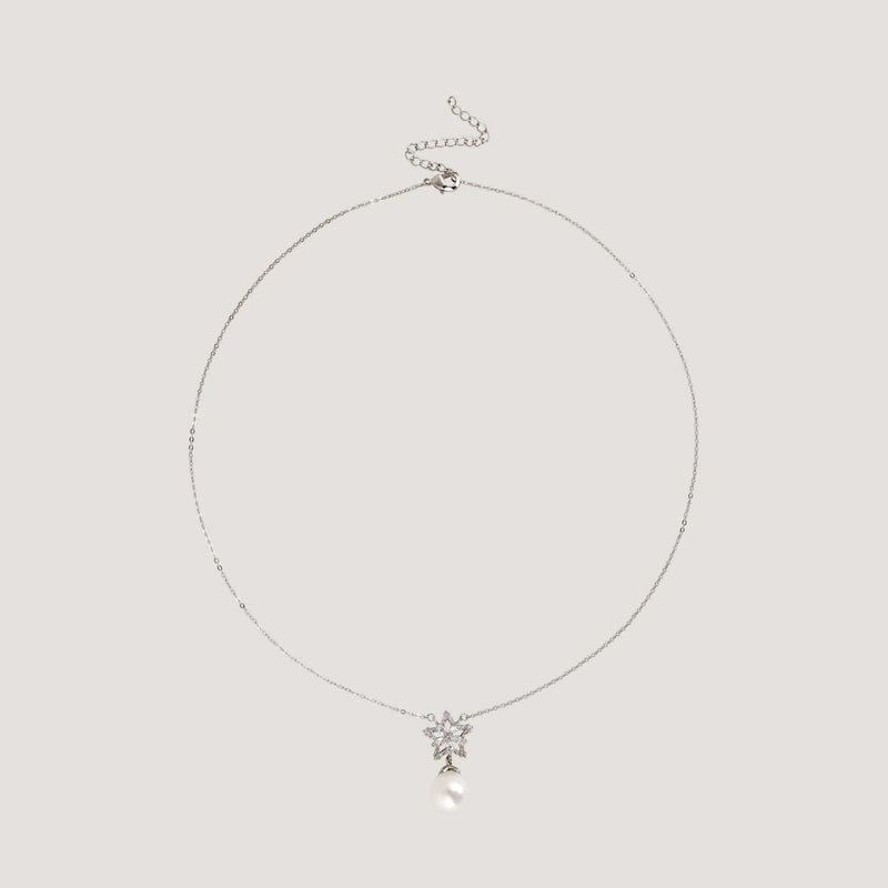 Star & Flower Pearl Drop Necklace