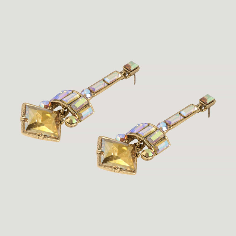Art Deco Drop Square Crystal Earrings