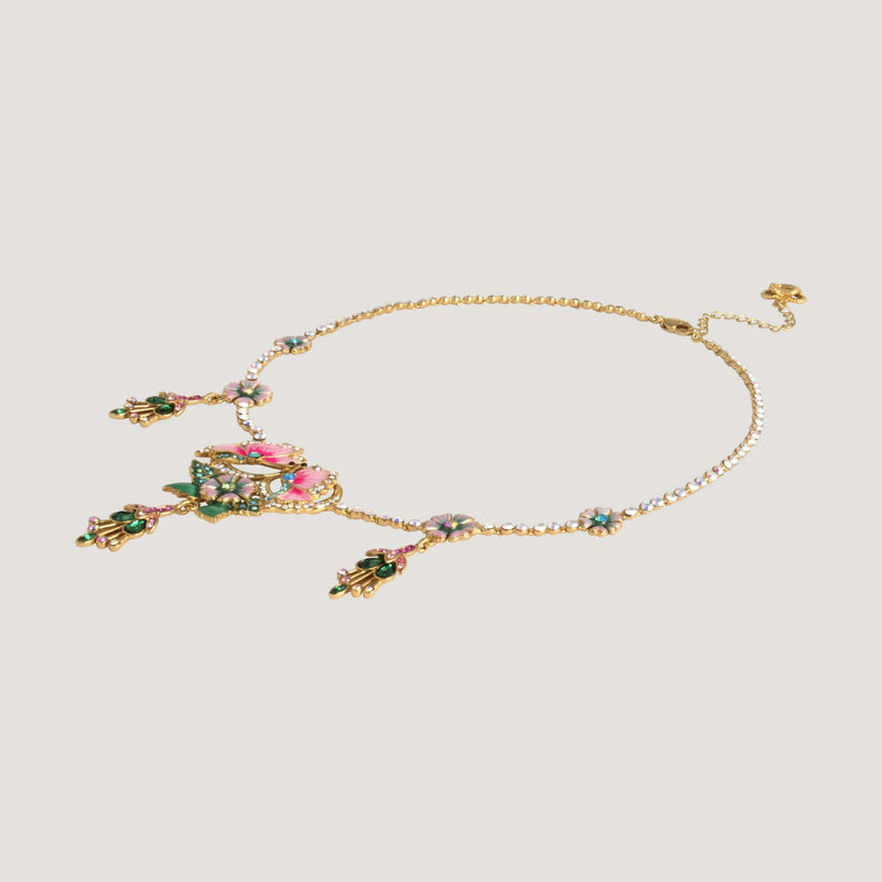 Flowers & Butterflies on Delicate Chain Necklace