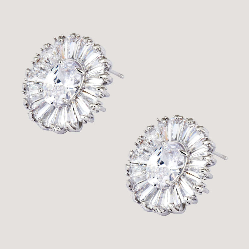 Oval Baguette Stones with Centre Crystal Earrings