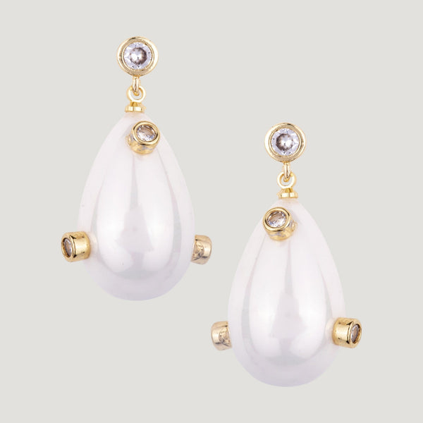 Drop Pearl with Crystals Earrings