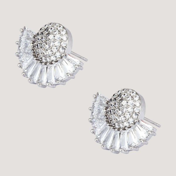 Crystal Baguette stones with Circle Crystals Stud Earrings