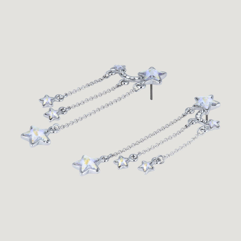 Crystal Three Star Drop Chain Earrings