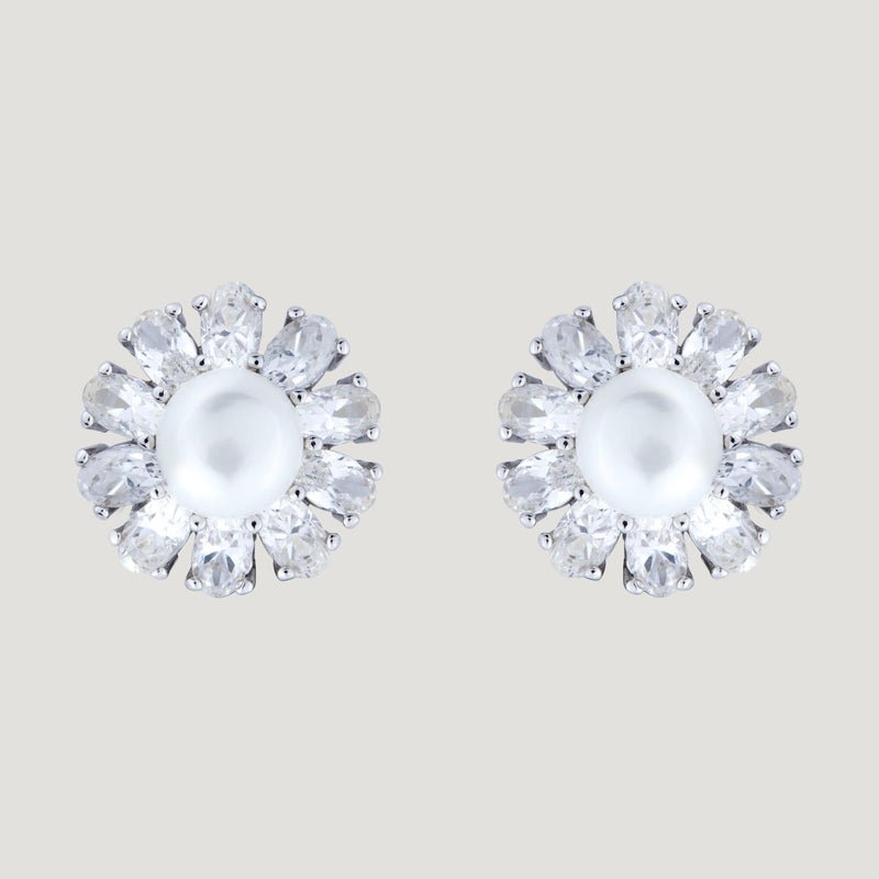 Zirconia Flower & Pearl Stud Earrings