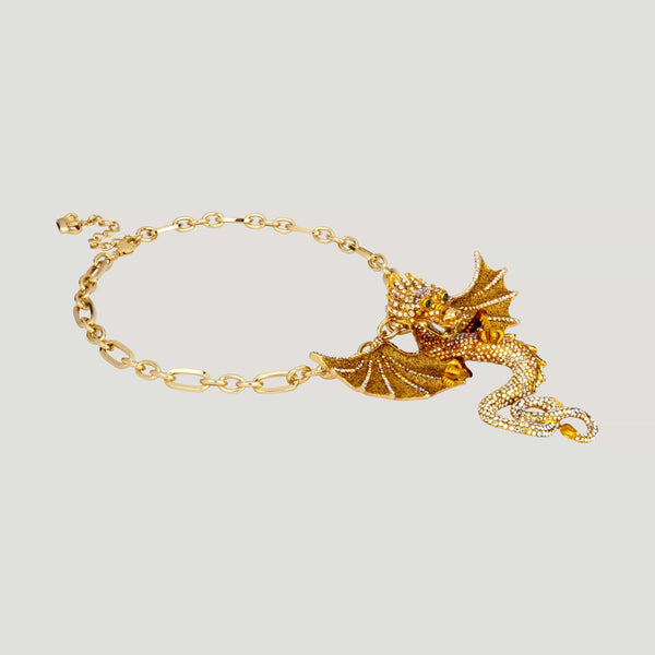 Fierce Crystal Dragon Necklace