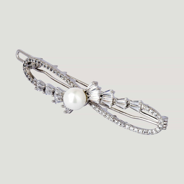 Center Pearl and Swirl  Crystal Row Hairclip