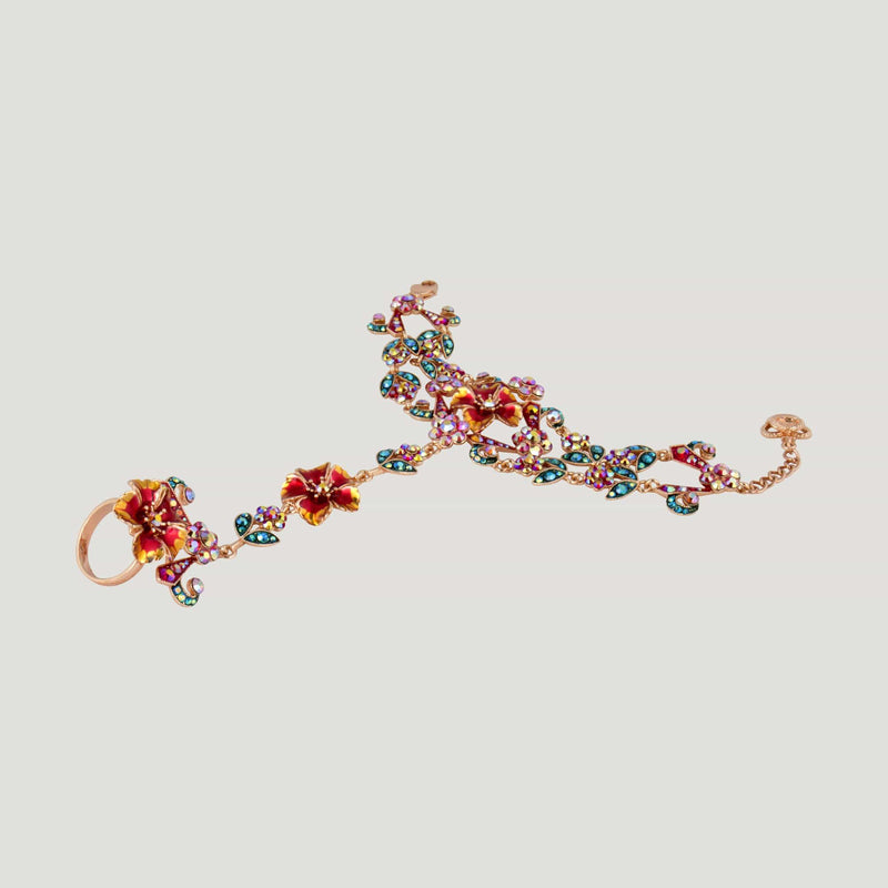 Antique Look Flower Bracelet with Attached Ring