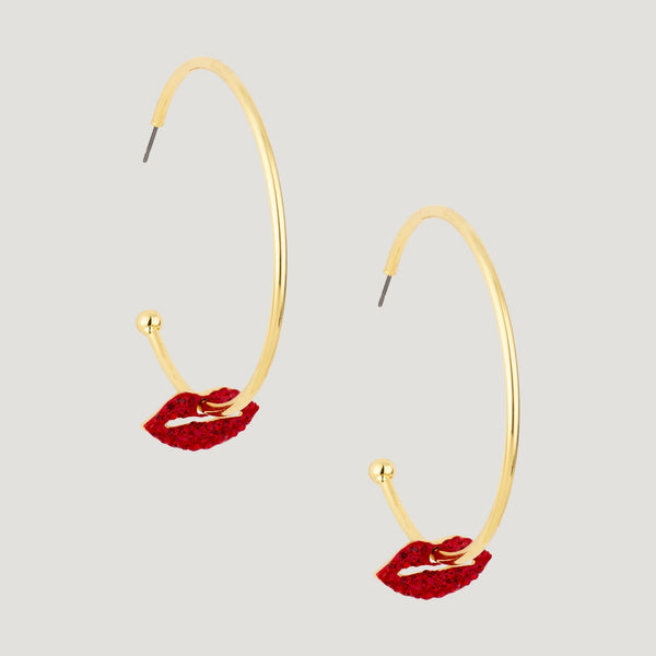 Hoop with Crystal Lip Earrings