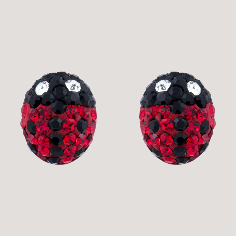 Tiny Crystal Ladybird Stud Earrings