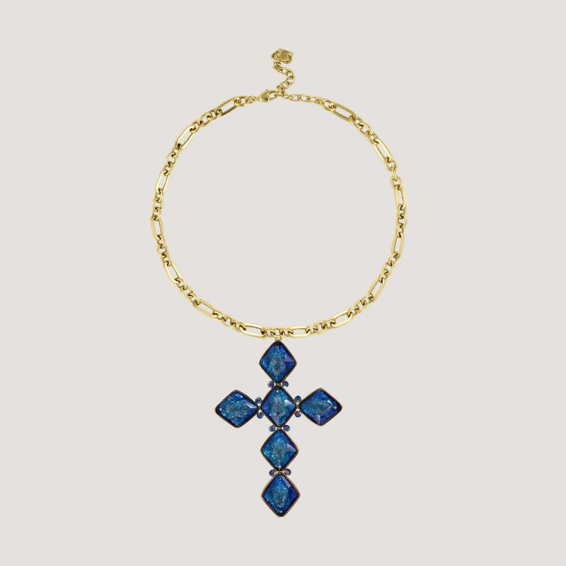 Square Shape Crystals Cross Chain Necklace