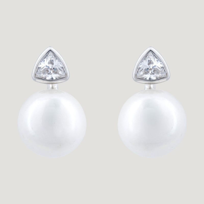 Zirconia Triangle & Pearl Stud Earrings