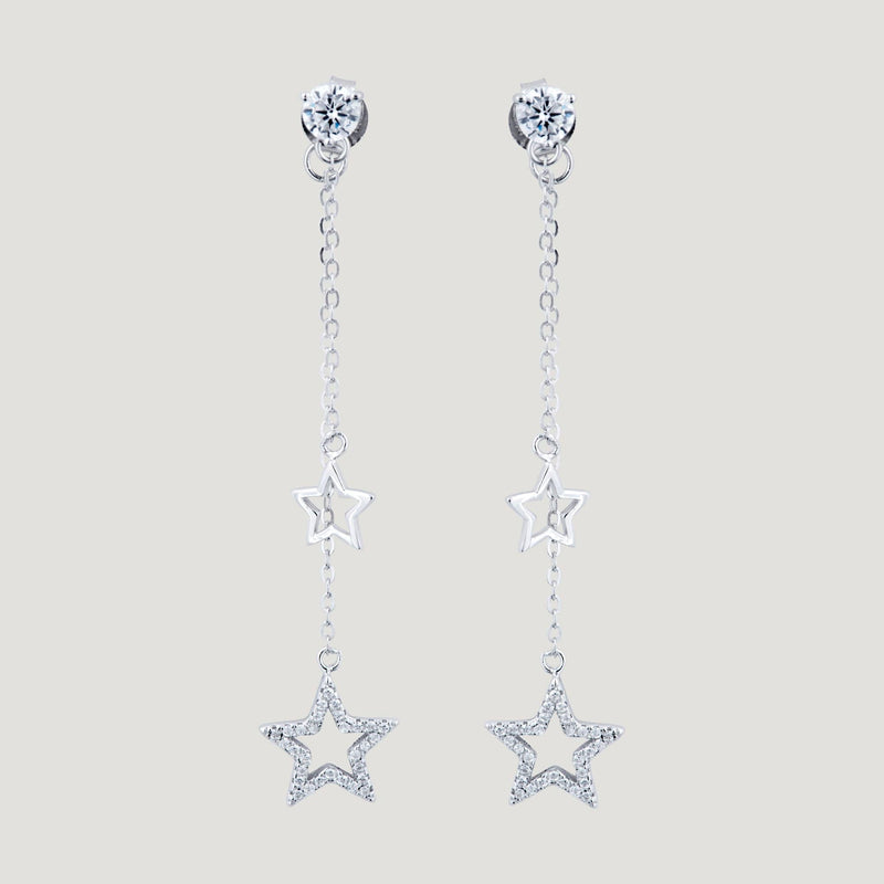 Zirconia Star Chain Drop Earrings