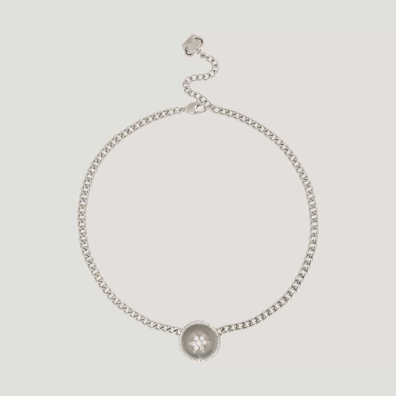 Circle Jade & Daisy Flower Chain Necklace