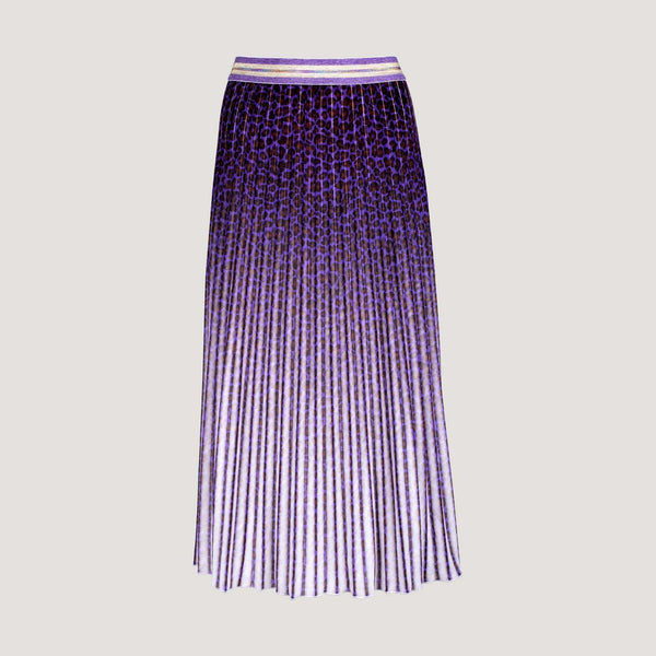 Purple Leopard Print Pleated Skirt