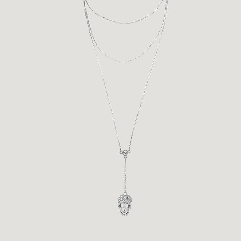 Double Chain Y-Shape Skull Necklace