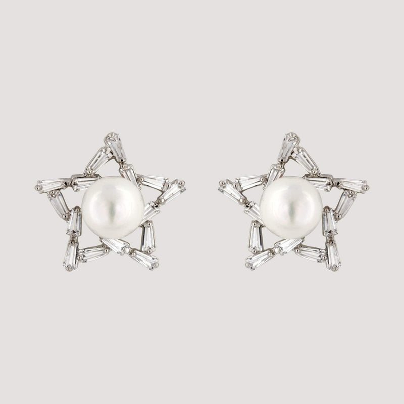 Sterling Silver Star & Pearl Stud Earrings