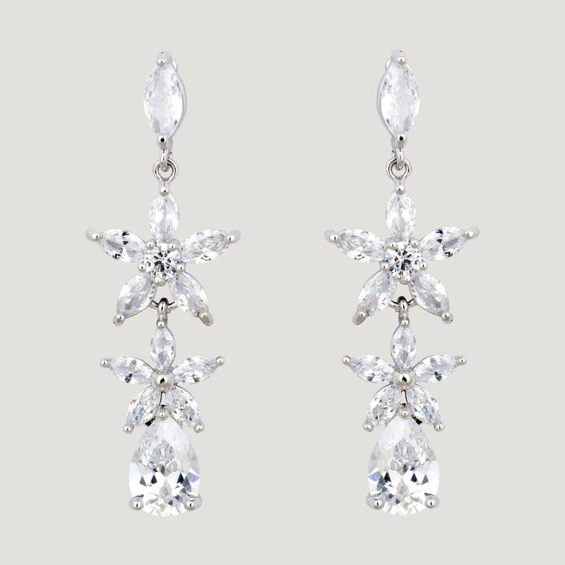 Two Crystal Flowers Teardrop Earrings