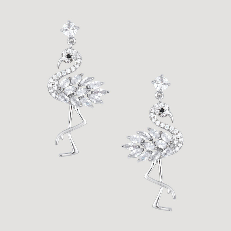 Small Crystal Flamingo Earrings
