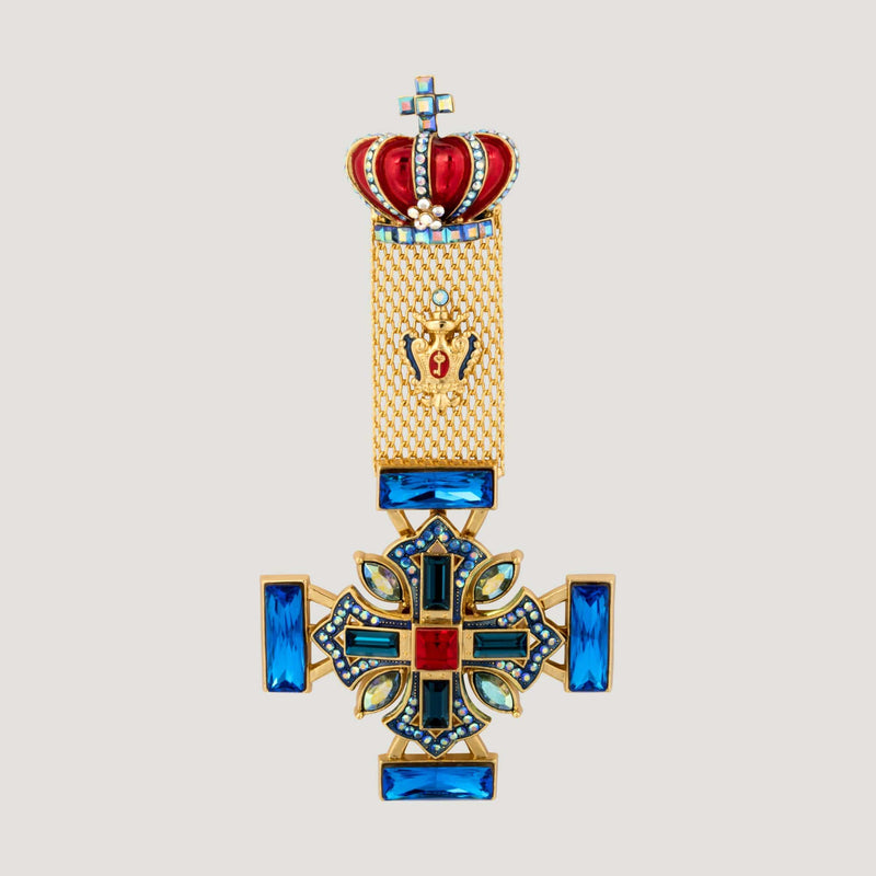 Crown & Medal Drop Brooch