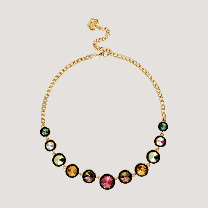 Eleven Graduating Circle Crystals Chain Necklace