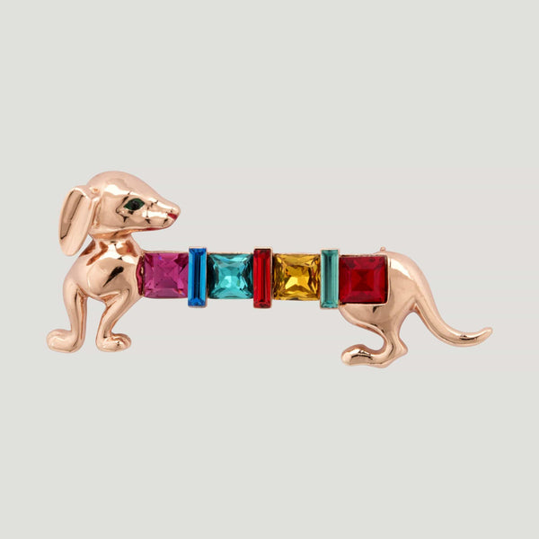 Enamel Sausage Dog with Square Crystals Brooch