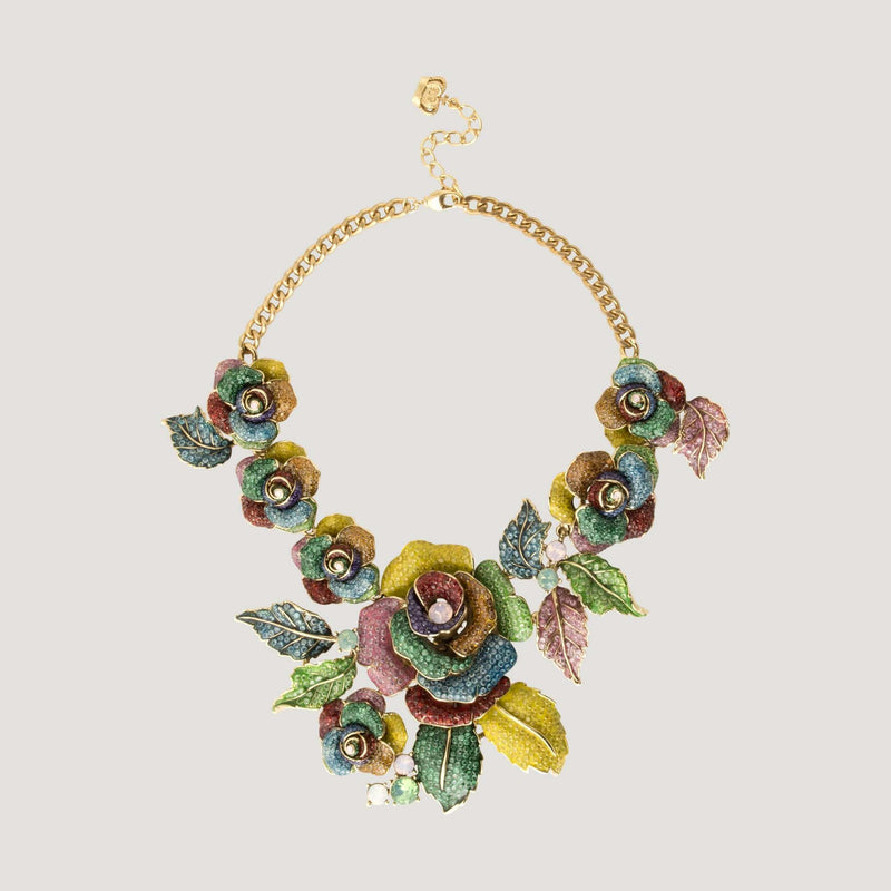 Crystal Roses and Leaves Necklace