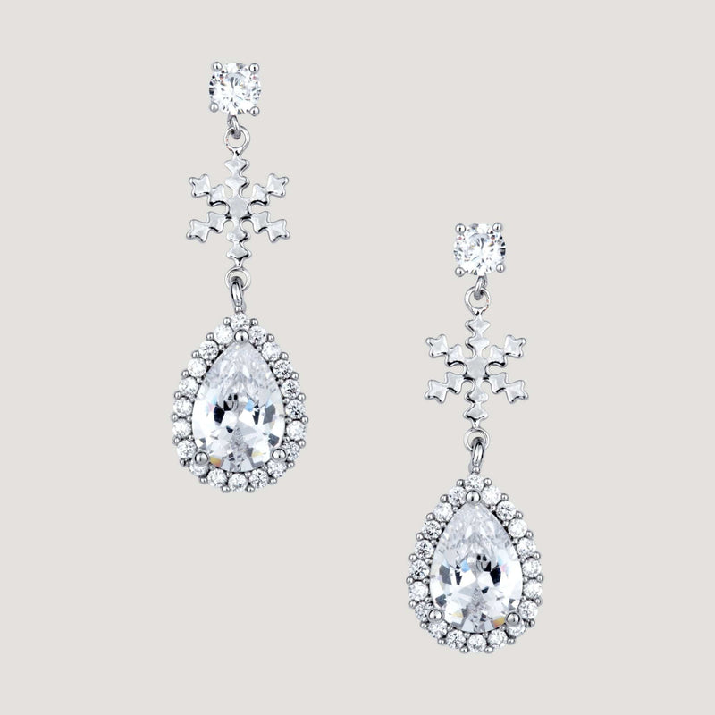 Crystal teardrop and Snowflake Drop Earrings