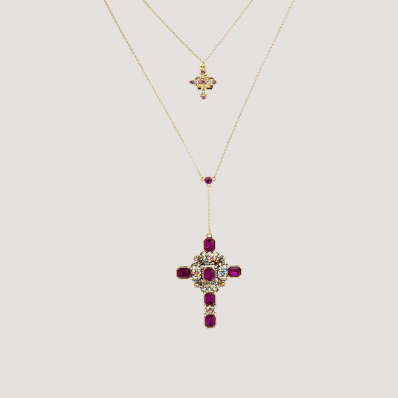 Crystal Cross on Double Chain Necklace
