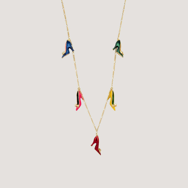 Enamel Shoes on Long Chain Necklace