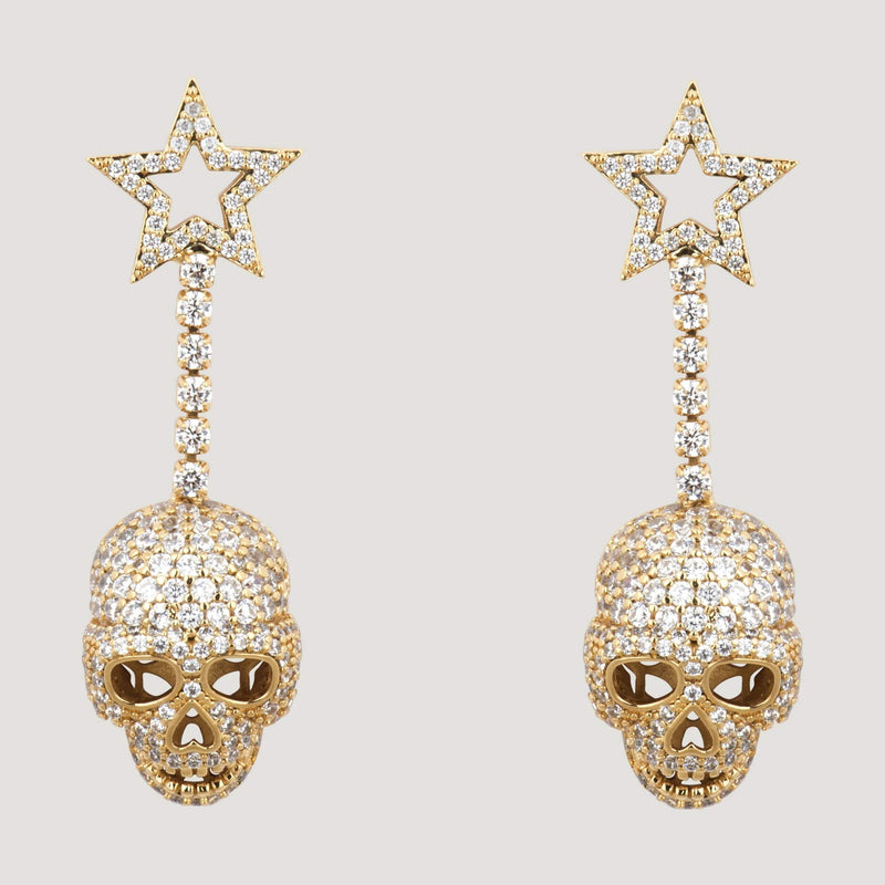 Crystal Star Drop Skull Earrings