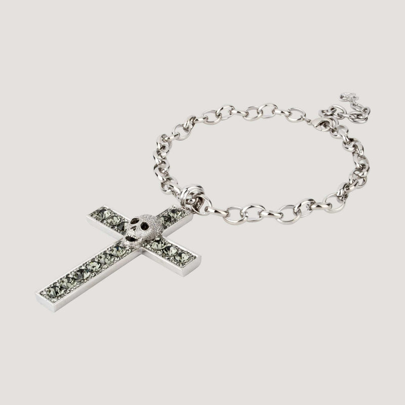 Crystal Cross with Center Skull chain Necklace