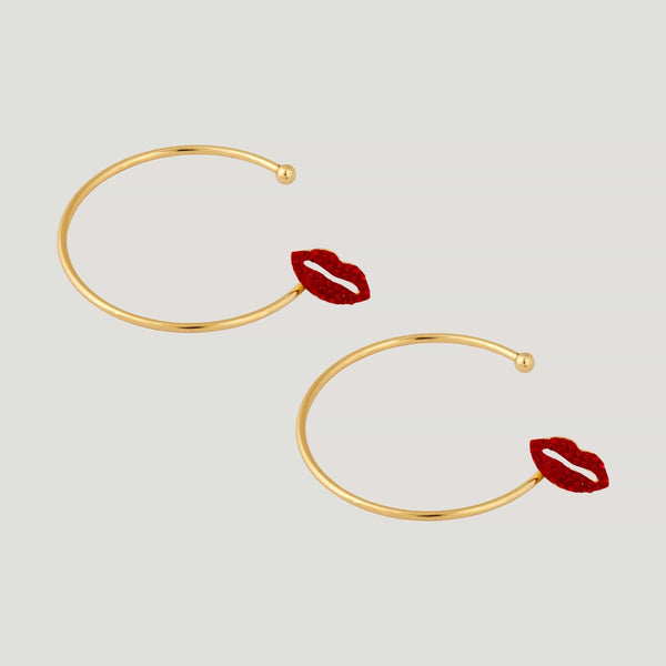 Crystal Lips Hoop Earrings