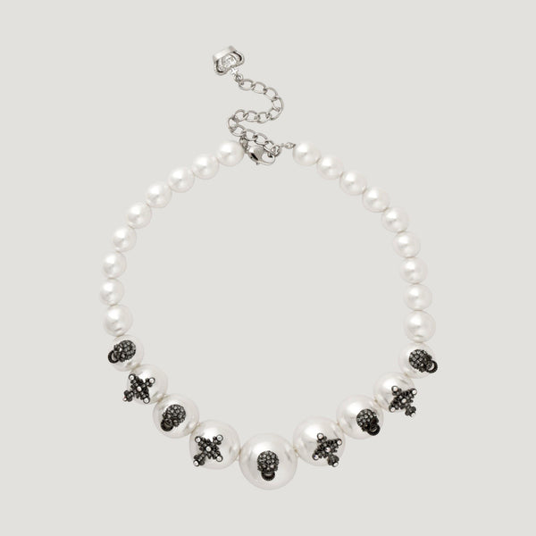Crystal Skulls & Crosses Pearl Necklace