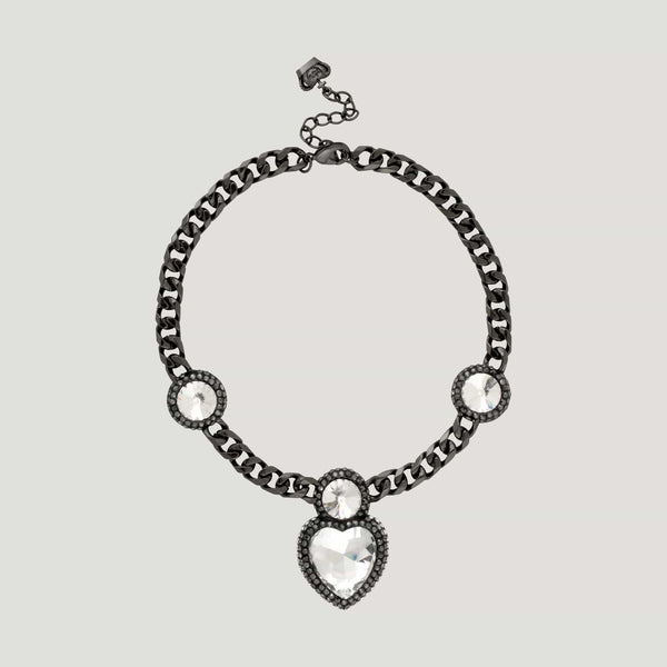 Heart and Three Circle Stones Chain Necklace