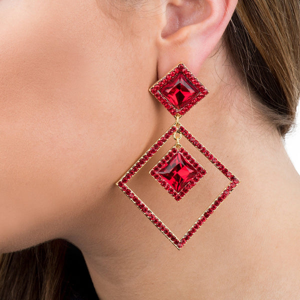 Crystal Squares Drop Earrings