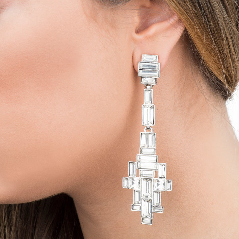 Crystal Baguette Stone Long Drop Earrings